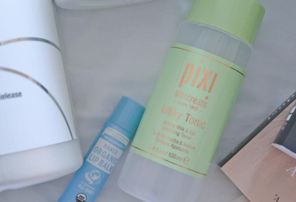 Pixi Milky Tonic and Dr Bronners Lip Balm