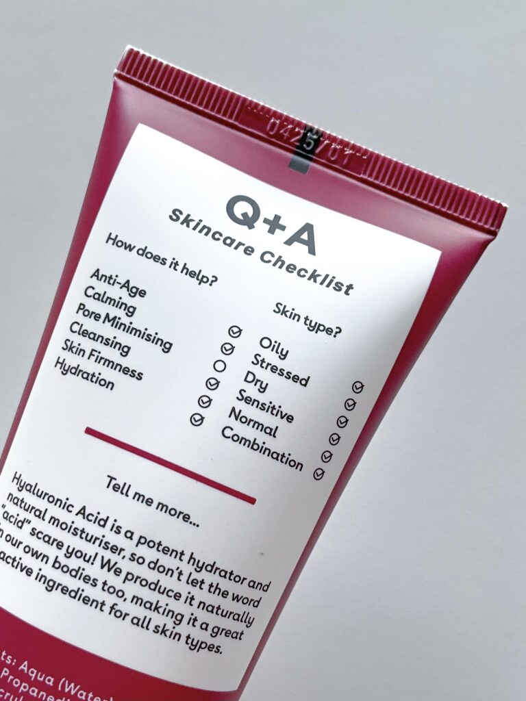 Q+A Hyaluronic Acid Hydrating Cleanser back