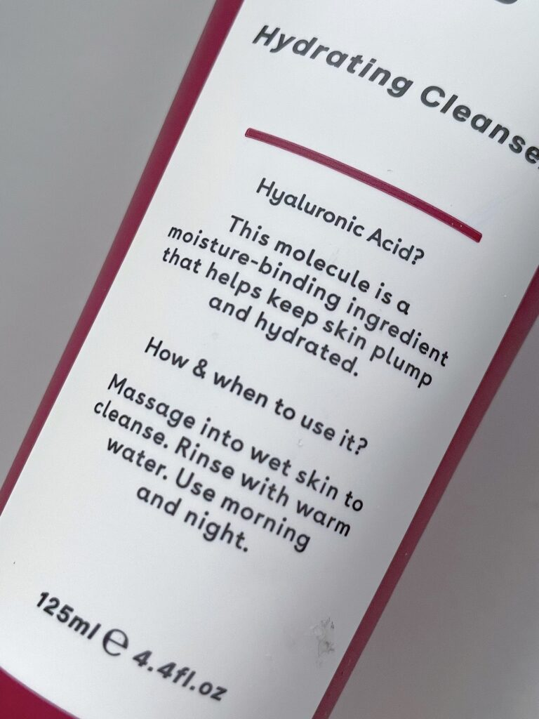 Q+A Hyaluronic Acid Hydrating Cleanser packaging